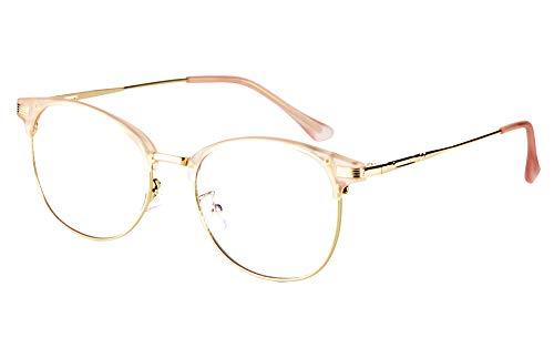 Effnny Bloqueo de luz azul Gafas anti fatiga filtro UV juegos de computadora monturas de gafas de lectura Para hombres mujeres 5054 (Oro rosa)