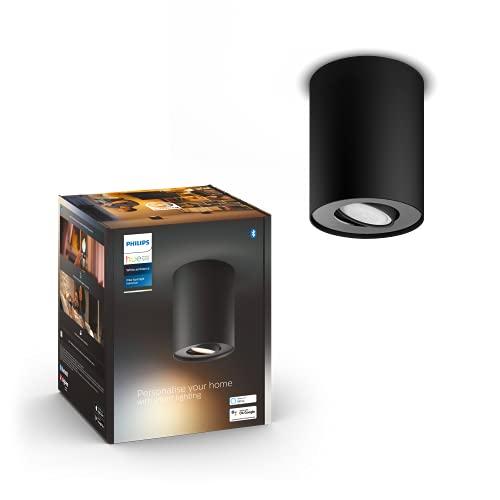Philips Hue Lámpara, Hue Pillar, Foco LED Inteligente, Luz Blanca de Cálida a Fría, Compatible con Alexa y Google Home, Color Negro