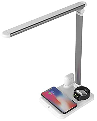 Arista Fast Wireless Charging Stand LED Desk Lamp Table Charge Station Compatible with iPhone X/XS/XR/8/8 Plus/XS Max Airpod Watch iWatch Samsung Galaxy S10+/S9+/S8/S7 Qi Enabled Phones