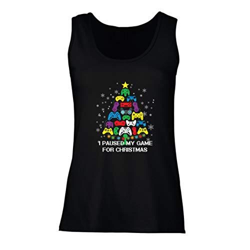 lepni.me Camisetas sin Mangas para Mujer Pausé mi Juego para Navidad Equipo de Juego Divertido (Small Negro Multicolor)