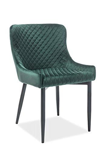 LUENRA - Juego de 2 sillas de comedor, 84 × 45 × 51 cm, combinación de bandeja acolchada de tela de terciopelo y patas de metal negro, color verde