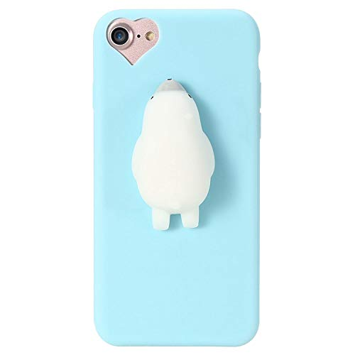 can't be satisfied Cat Case for iPhone 5s 5 SE 7 7 Plus 6 6s Plus Squishy Case Cute Silicon Cartoon Cat Cases for iPhone X 7 6 6s 5S Cover,Seal Blue,for iPhone 7 Plus