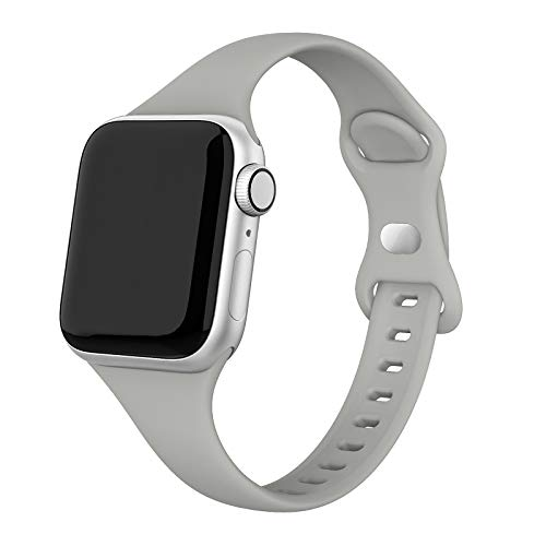 SWEES Sport Band Compatible with iWatch 38mm 40mm, Narrow Soft Silicone Slim Thin Small Replacement Wristband Strap Compatible for iWatch Series 6 5 4 3 2 1 SE Sport Edition Women Men, Stone