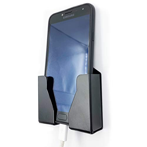 Crinds® Pure Metal Wall Mount Mobile Cell Phone Stand Holder for Charging Near Wall Socket to Hold All iPhones, Smartphones, Smartwatches, Chargers & Accessories (SP-Black, Single)
