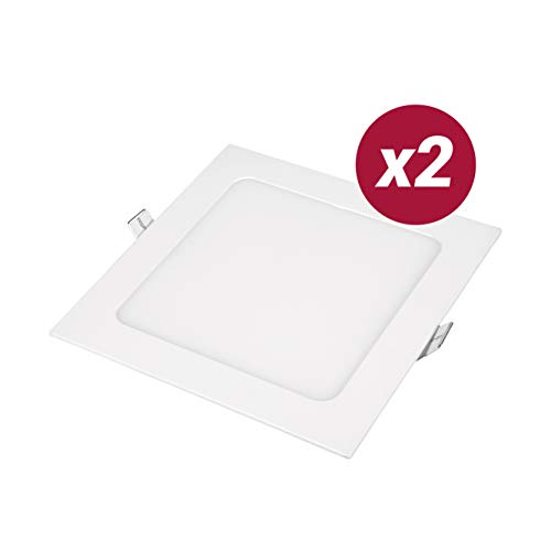 POPP- Pack 2 Downlight LED Extraplano Cuadrado Blanco,chip OSRAM Iluminacion LED Plafón de Techo (6000K, 12W)