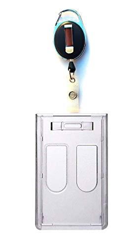 Waizmann.IDeaS® 1 x ID-kortset ID-kortshållare jojo ID-korthållare gilklip oval kortfodral med tumstöd för 2 kort ID-fodral transparent vertikal hög kant stora färger val