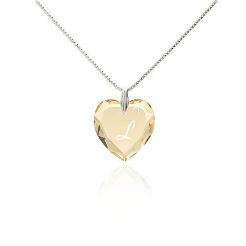 Damen Kette mit Swarovski Crystal Buchstaben Herzanhänger Gravur L filigrane schlichte dezente Halskette Herzkette für die Frau Freundin Schwester zum Valentinstag oder Geburtstagsgeschenk