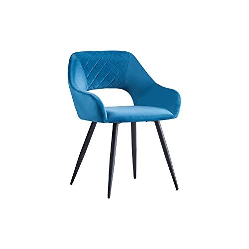 AINPECCA Esszimmerstühle, Samt, gepolstert, mit schwarzen Metallbeinen, für Wohnzimmer, Lounge, Rezeption, Restaurant (Samt, Blaugrün, 1)