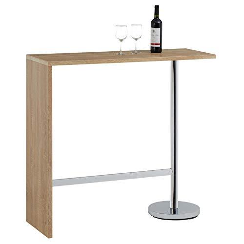 IDIMEX Table Haute de Bar Ricardo Mange-Debout comptoir piètement métal chromé, Plateau en MDF décor chêne Sonoma