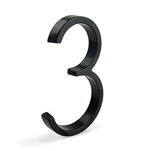 HASWARE Letrero de número de casa flotante de 5 pulgadas (12 cm) Números de puerta modernos Placa de señalización Números de dirección de casa de calle, Metal negro [Número 3]