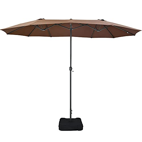 Patio Watcher 15 Ft Patio Double Sided Umbrella with Base, Extra Large...