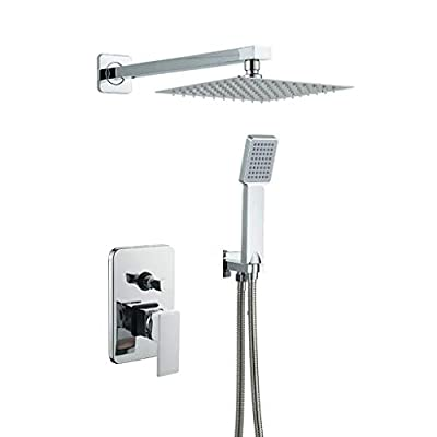10 Inch Bathroom Luxury Rain Mixer Shower Combo Set Wall Mounted Rainfall Shower Head System Polished Chrome Shower Faucet Rough-in Valve Body and Trim Included