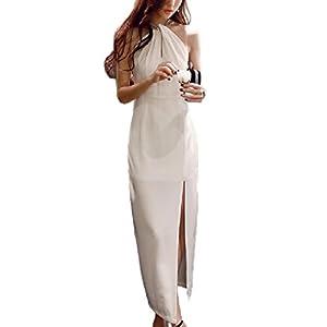 [PlaisteL] スパンコール ホルターネック ドレス (ノースリーブ ホワイト L) ドレスホワイト 白いドレス フェミニン 白いワンピース レディース ホルターネックワンピース タイトスカート ロングスカート ドレスコード 春 夏 女性 服 白色 L