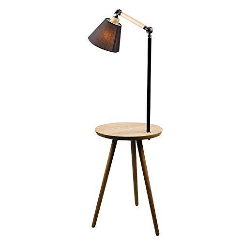 AZCX Home Mall Holzbodenlampe | Moderne, minimalistische Stehlampe mit Tisch | Für das Schlafzimmer-Studium,Black