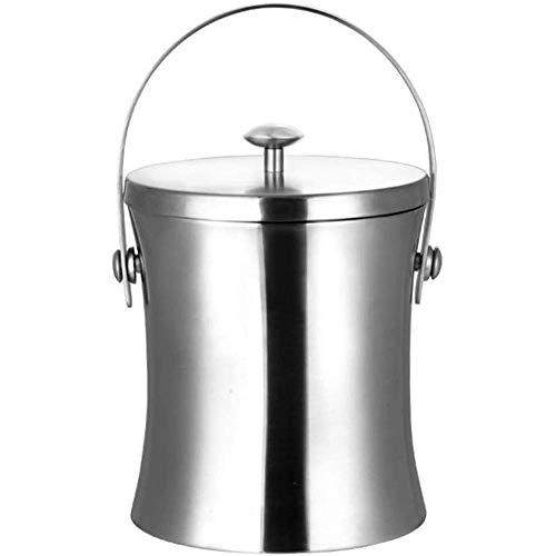 DZX Cubo de Hielo para el hogar/Bar Cubo de Hielo, Cubo de Hielo de Acero Inoxidable Cubo de Hielo de Cintura de Acero Inoxidable de Doble Capa Gruesa con Tapa Cubo de Hielo de Aislamiento de Lijado