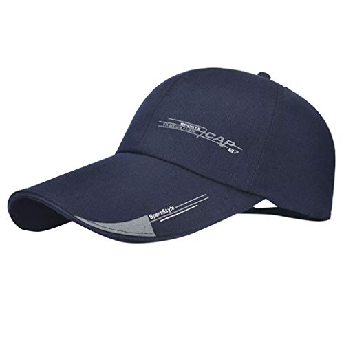 2019 Damen Herren Baumwolle Einfache Vollständig Atmungsaktive Mesh Cap, Bestickte Unisex modische Baseball Caps Einstellbar lässige Sportmütze Sonne Hüte Unisex (Marine, 1 Stück)