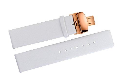 Sostituzione in pelle bianco braccialetti 20 mm liscio sottile pelle di mucca senza cuciture con oro rosa chiusura farfalla fibbia