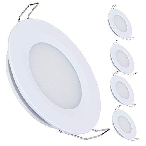 acegoo 4 x Foco EmpotrableLED Luz de Techo Downlight12V 3W 3200K para Caravana Barco Camper Furgoneta Cocina Baño, 240LM Blanco cálido(Acabado blanco)