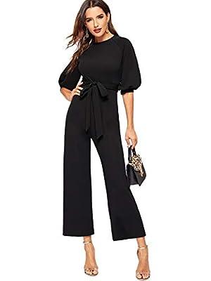 ROMWE Women's Short Lantern Sleeve Solid High Waist Long Wide Straight Leg Jumpsuit Black M