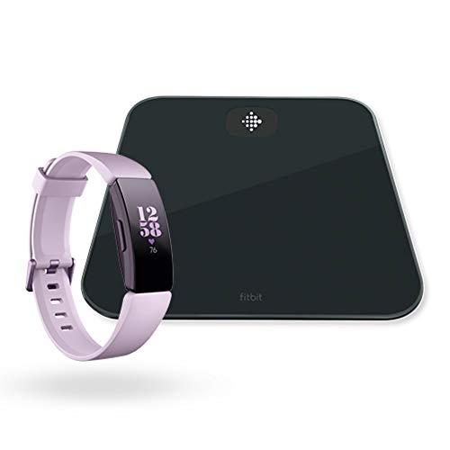 Fitbit Inspire HR Gesundheits- & Fitness Tracker mit automatischer Trainings Erkennung, 5 Tage Akkulaufzeit, Schlaf- & Schwimm-Tracking, Flieder + Aria Air Intelligente Waage