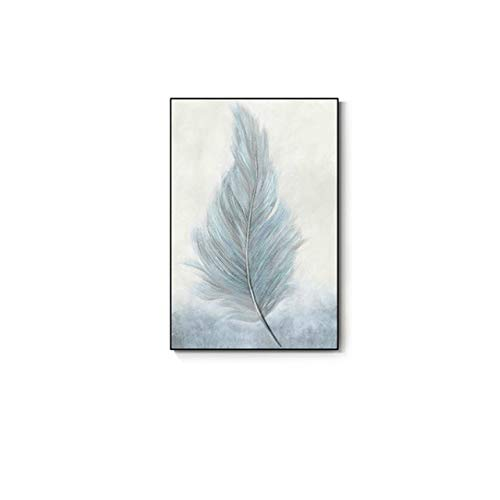 Canvas Oil Painting Feather Zen Leaf Poster and Printed Pastel Color Wall Picture for Home Decoration Poster 20x32cm