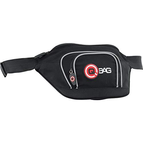 QBag Motorradtasche Motorrad Tasche/Hülle/Etui Hip Bag Gürteltasche, 3 Fächer, Innentasche, Einschubtaschen, wenig Luftwiderstand, enganliegend, reflektierende Keder, Schwarz/Grau/Weiß