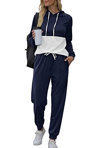 Women Casual 2 Piece Outfits Sets Matching Jogger Pants Loose Fit Tracksuit Purplish Blue XL
