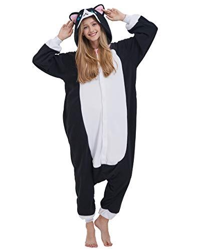 Jumpsuit Onesie Tier Karton Fasching Halloween Kostüm Sleepsuit Cosplay Overall Pyjama Schlafanzug Erwachsene Unisex Lounge, Katze Schwarz, Erwachsene Größe L - für Höhe 168-177CM