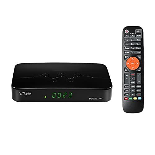 Skyeen V7 Pro GTMEDIA Decodificador,Satelite TDT Combo DVB-S/S2/S2X DVB-T/T2 TV Soporte H.265 10bit con Antena WiFi USB/CA Lector de Tarjeta, Soporte CCcam Youtube autoBiss (V7 Plus Mejorada)