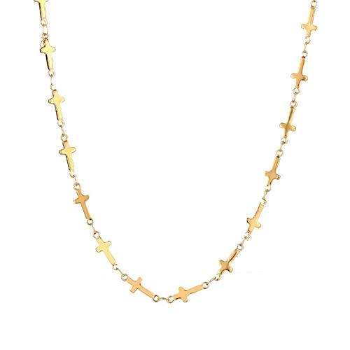 AdorabFruit Présent Pendentif Collares De Cadena De Acero Inoxidable For El Color Hombre Mujeres Oro Plata For Colgante Cruz Donot Fundido Joyería (Color : Gold Color, Size : 20 Inch 50 cm)