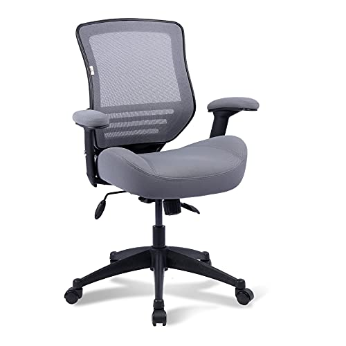 BOLISS Ergonomic Office Computer Desk Chair Height Adjusting Arm Waist Support Function,400 lbs Capacity - Grey