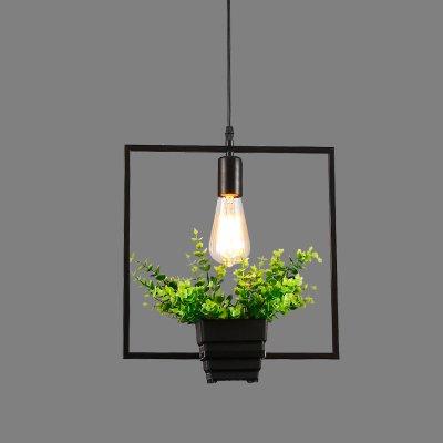 Luckyfree Creatieve Modern Fashion hanger lampen plafondlamp kroonluchter slaapkamer woonkamer keuken, vierkante bloempotten * Retro lamp