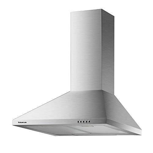Taurus Gallery 60 - Campana extractora decorativa 60 cm de 550 m3/h, 3 niveles de extracción, 2 filtros de aluminio de 5 capas
