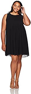 Sharagano Women's Plus Size Sleeveless Pleated Chiffon Dress