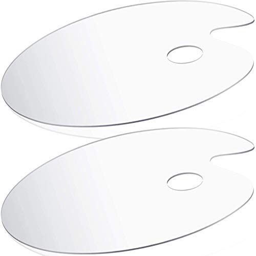 Acrylic Paint Palette 2pcs 11.8 x 7.9 inches by DUGATO, Clear Oval-Shaped Non-Stick Acrylic Oil Paint Mixing Tray- Comfortable To Hold & Easy to Clean - for DIY Art Painting Plate