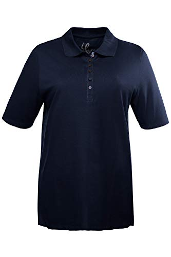 Ulla Popken Damen große Größen Übergrößen Plus Size bis 72, Oberteil, Poloshirt, T-Shirt mit Samtband-Knopfleiste, Basic-Shirt, Polokragen, Baumwolle Marine 54+ 638837 71-54+