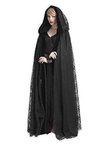 Punk Rave Damen Dark Gothic Mittelalter Umhang Cloak Medieval Cape Kapuze Schwarz Samt Spitzen Mantel