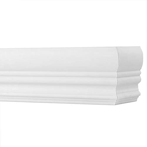 """TailorView, Faux Wood Crown Valance for Horizontal (Venetian) Window Blinds, Snow White/White Mist, Inside or Outside Mount, 36 1/8"""" L - 48"""" L"""