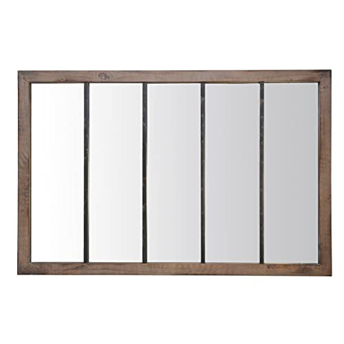 EMDE Miroir Atelier 5 Bandes Bois et métal usé XXL - 90x140 cm