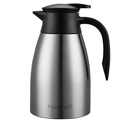 Homewit Thermoskanne 1,5 L | Max. 48 Stunden Wärmespeicherung & Kältespeicherung Isolierkanne | doppelwandige Vakuum Kaffeekanne Teekanne | Edelstahl Thermoskanne für Kaffee, Tee, Wasser, Getränk