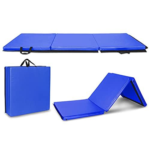 Comfortablehome 6'x2'x2 Tri-Fold Gymnastics Yogamatte mit Handsch 6'x2'x2 Tri-Fold Gymnastics Yogamatte mit Handschnalle blau 556