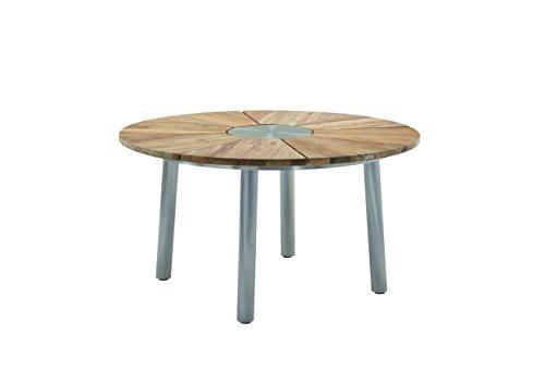 Niehoff Garden Nexor Tisch, Teak Massiv Recycled, Edelstahl Gebürstet, Füße Rund, DM 160