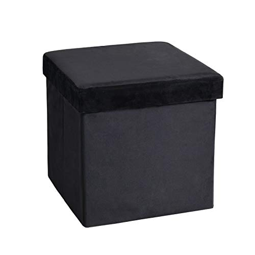 138 inches Storage Ottoman Cube Foldable Velvet Footrest Stool with Padded Seat Max Load 350lbs Black