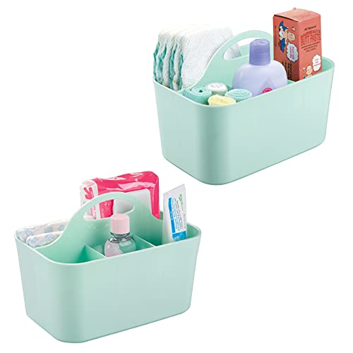 mDesign Plastic Nursery Storage Caddy Tote, Divided Bin with Handle for Child/Kids - Holds Bottles, Spoons, Bibs, Pacifiers, Diapers, Wipes, Baby Lotion - BPA Free, Small, 2 Pack - Mint Green
