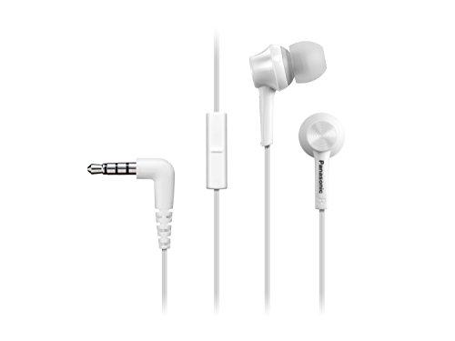 Panasonic RP-TCM115E-P- Auriculares Botón con Cable y Micrófono (Headphone Sonido Estéreo para Móvil, MP3/MP4, Control Remoto, Diseño de Ajuste Cómodo, Unidad de 9 mm), Color Blanco