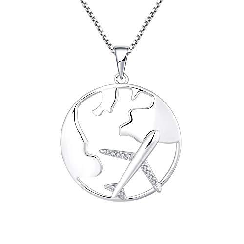 Sarchenie Flugzeug Kette 925 Sterling Silber Weltkarte Flug Halskette Anhänger für Damen