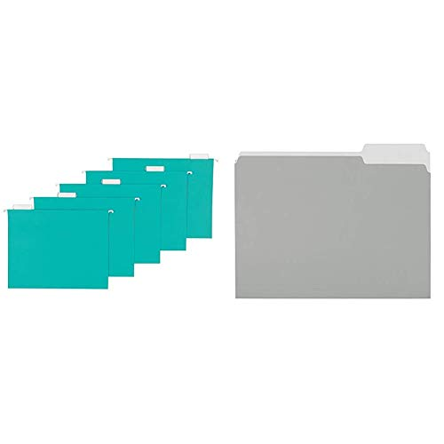 AmazonBasics Hanging Folders, Letter Size, Aqua, 25-Pack & File Folders, Letter Size, 1/3 Cut Tab, Gray, 36-Pack