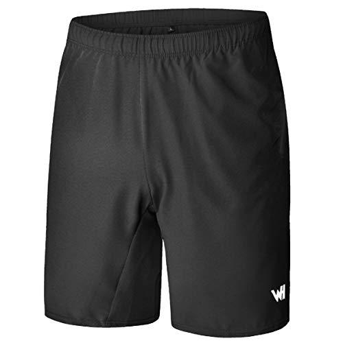 WHCREAT Pantaloncini da Running Uomo con Tasche con Cerniera per Allenamento in Palestra Sportiva L