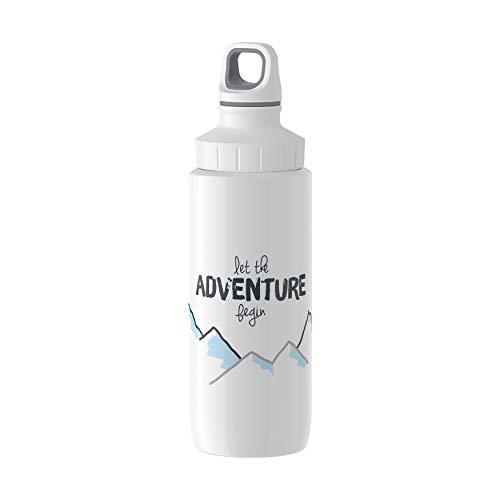 Emsa N3010900 Drink2Go Lightsteel Trinkflasche (Fassungsvermögen: 0,6 Liter, Edelstahl) Weiß/Adventure