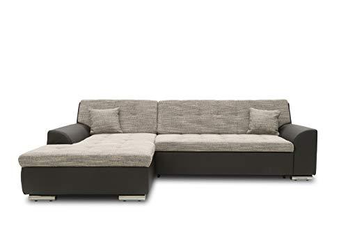DOMO. collection Treviso Ecksofa   Sofa mit Schlaffunktion in L-Form, Kunstleder, grau/schwarz, 267x178x83 cm